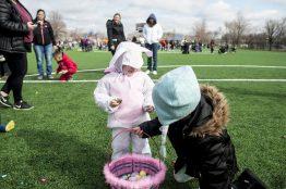 Scarlett Serio helps her sister, Savannah Serio, collect eggs. | William Camargo/Staff Photographer