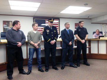 From left: Lt. Steven Zanoni, Lt. Kenneth Gross, Sgt. Tom Hall, Officer Nicholas Christopher, firefighter William Toth. | Courtesy Matthew Hendrickson