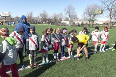 The Silver Surfers get their shin protectors and soccer cleats checked as they prepare to take on Ascension in their first match of the new season, April 9, at The Park. | William Camargo/Staff Photographer