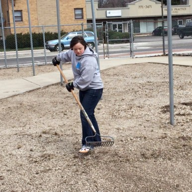 A volunteer prepares the site. | Photo provided
