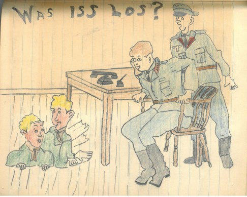 A drawing from Dugald Leitch's POW camp journal.   Courtesy of Tom Leitch