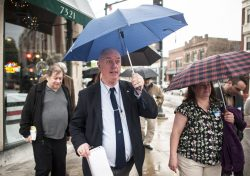 Jerry Lordan, in spite of the rain, begins the 2nd Annual Prohibition Tour from Healy's Westside; several pubs were part of the tour. | William Camargo/Staff Photographer