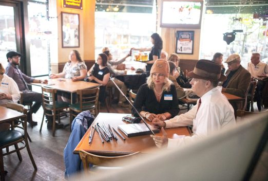 Molly and Mike Stewart and other patrons wait for the 2nd Annual Prohibition Tour at Healy's Westside to begin. | William Camargo/Staff Photographer