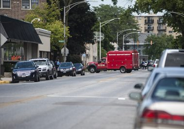 Forest Park police used municipal vehicles to block off Desplaines Avenue on Monday afternoon around 3 p.m., after a grenade was brought in by a resident to the police station.