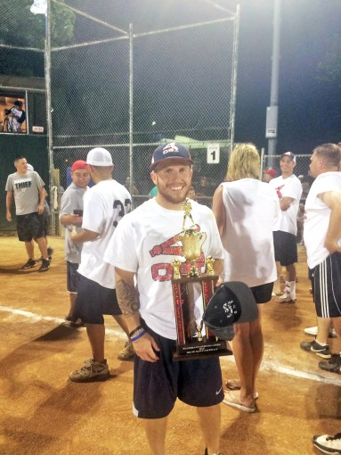 """Brian """"Chippy"""" Koronkowski earned the Most Valuable Player award at the 2015 No Glove Nationals Softball Tournament in Forest Park. (Courtesy Brian Koronkowski)"""