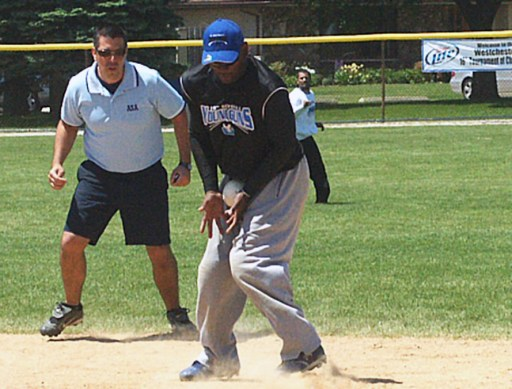 Brian Panek, left, is the head umpire at the 48th Annual No Glove Nationals Softball Tournament. He's been umpiring tournament games for 13 seasons. (Courtesy Brian Panek)