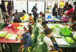 Children sit in their desk awaiting the first day of kindergarten to start. | William Camargo/Staff Photographer