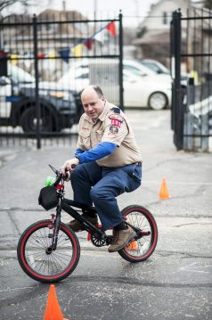 John Bell goes through a bike course during a pancake breakfast and bike rodeo at St. John Lutheran Church on March 12.   File photo