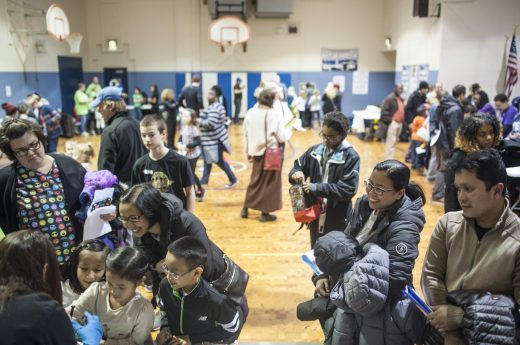 Families packed the Forest Park Middle School gym. | William Camargo/Staff Photographer