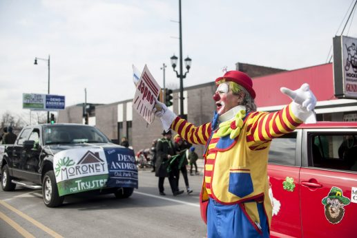 Jaymus the clown gets the crowd pumped.   William Camargo/Staff Photographer