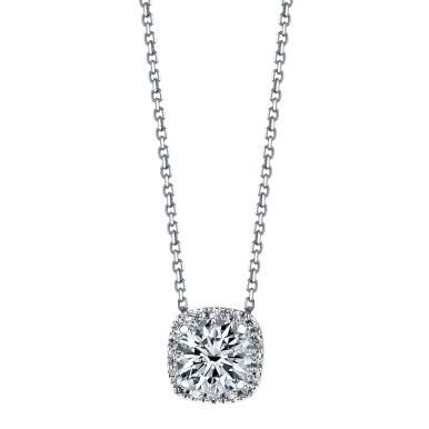 "Diamond Pendant ""Classic Round Brilliant Cut Diamond With Cushion Halo Pendant"""