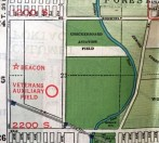 """A 1933 Rand-McNally map (courtesy of Kevin Walsh at http://www.airfields-freeman.com/IL/Airfields_IL_Chicago_C.htm#checkerboard ) depicted """"Checkerboard Aviation Field"""" along with the adjacent """"Veterans Auxiliary Field"""" & a beacon to the west."""