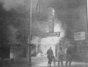 Homer's Restaurant ablaze. | Courtesy Forest Park Historical Society