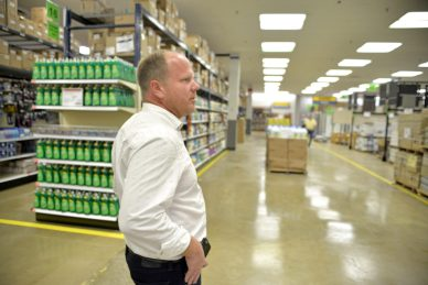 Scott Werner, vice president for information technology, walks through the new building on Monday, Aug. 28, at the new HOBO on Roosevelt Road in Forest Park.   Alexa Rogals/Staff Photographer