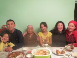Leah Cozzi, second from right, with her host family: parents Kuttubek and Venera, grandmother, and sisters Ayana and Aidana. | Courtesy Leah Cozzi