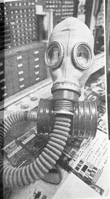 Gas mask at the Military & Police Supple Store. | Photo courtesy Forest Park Historical Society