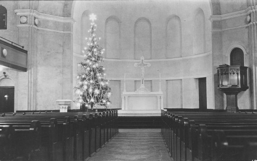 The unpainted interior of the current church in 1914. | Photo provided