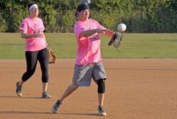 Pitches Be Crazy shortstop throws the ball to first for the out. | Alexa Rogals/Staff Photographer