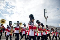 The Proviso West High School marching band makes their way down the road. | Alexa Rogals/Staff Photographer
