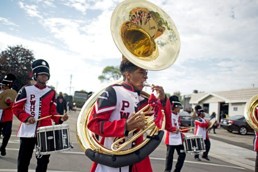 Members of the Proviso West High School marching band perform. | Alexa Rogals/Staff Photographer