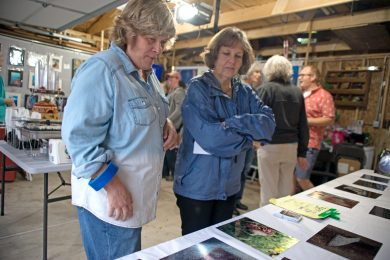Artist Ann Reinertsen Farrell, left, and Marilyn Vickers, both of Oak Park, peruse the pieces. | Alexa Rogals/Staff Photographer
