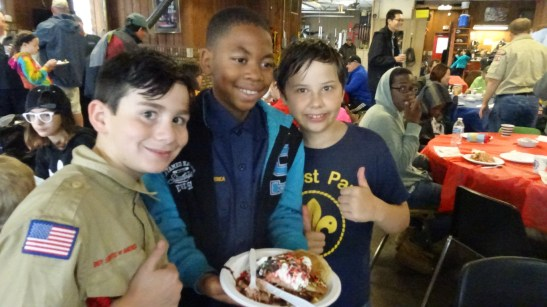 Aiden Mack, Terrance Carver and Logan Wagner serve families at the Pancake Breakfast on Saturday. | Courtesy Jill Wagner