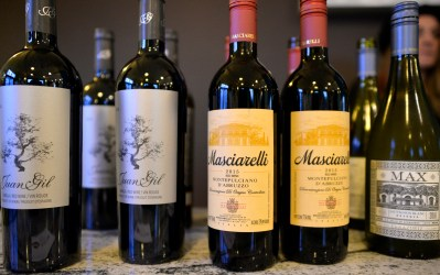 Different wines sit out on display on Saturday, Nov. 4, 2017, during the annual Wine Walk and Shop at participating businesses on Madison Street in downtown Forest Park, Ill. ALEXA ROGALS/Staff Photographer