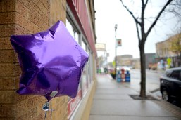 Purple star balloons are placed in front of participating businesses on Saturday, Nov. 4, 2017, during the annual Wine Walk and Shop on Madison Street in downtown Forest Park, Ill. ALEXA ROGALS/Staff Photographer