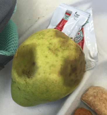 A bruised pear served by Aramark to students in a Chicago school. | Photo courtesy The School Lunch Project