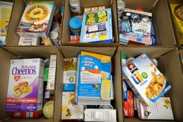 Boxes filled with non-perishable food items for families in need. | Alexa Rogals/Staff Photographer
