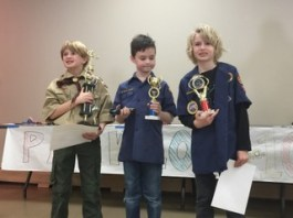 Pinewood Derby racers with the top speed included Devin Fitzgerald, 1st, Hollis Cross 2nd and David Show, 3rd. | Photo by Karen Rubio