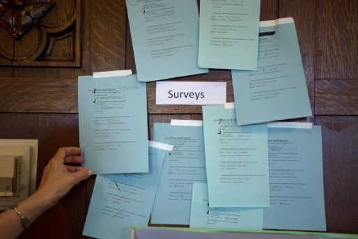 Surveys with suggestions on what students would like to see in the area where the women's pool is currently are posted up on the wall on May 16 at Proviso East High School in Maywood, Ill.(By ALEXA ROGALS/ Staff Photographer)
