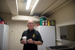 American Legion member Mike Thompson talks about the expected updates to the kitchen area. | Alexa Rogals/Staff Photographer