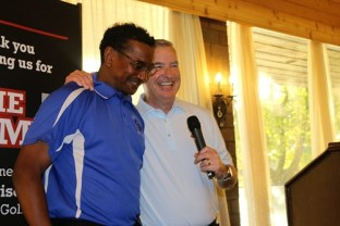 """Proviso East head golf coach Gerald Holmes and Terry Horan, the brother of late Hinsdale Central assistant golf coach Jimmy Horan, during """"The JIMMY"""" on June 2. 
