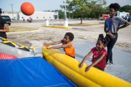 Children shoot hoops. | Alexa Rogals/Staff Photographer