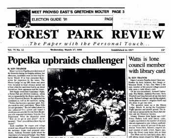 Front page Forest Park Review March 27, 1991