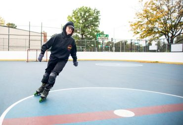 Carolyn Bednar, 66, of Forest Park, warms up by skating in loops on Oct. 12, in the skate rink at the Park District of Forest Park on Harrison Street. | Alexa Rogals/Staff Photographer