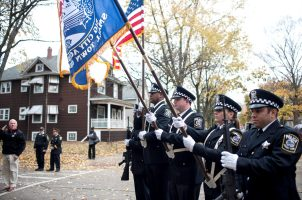 Forest Park color guard gets ready for a Veteran's day celebration in Forest Park on November 11, 2016.