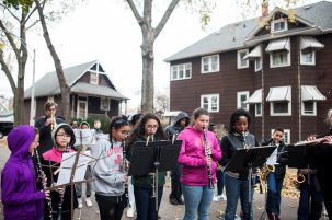 Forest Park Middle School children play the national anthem during a Veteran's Day celebration in Forest Park on November 11, 2016.