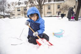 Frankie Taylan, 4, of Forest Park, digs up some snow for his snowman. | Alexa Rogals/Staff Photographer