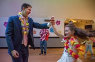 Marc Groulx, left, dances with his daughter, Coralai Groulx, 9, both of Forest Park, on Friday, Feb. 1, during the Hawaiian Luau Daddy Daughter Dance at the Park District of Forest Park. | Alexa Rogals/Staff Photographer