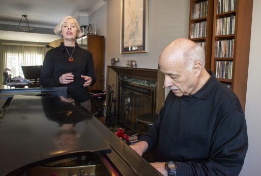 Jazz musicians Terry Sullivan, left, of Forest Park, and Bobby Schiff, of Riverside, during a rehearsal at Schiff's home in Riverside. | Alexa Rogals/Staff Photographer