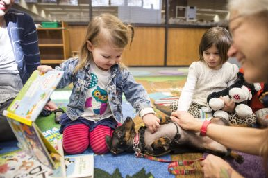 Zara Harrington, 2, of Forest Park, pets Deke, a therapy dog from PAWSitive Therapy Troupe during a Read with a Dog Storytime in the Austin Room at the Forest Park Public Library. | Alexa Rogals/Staff Photographer