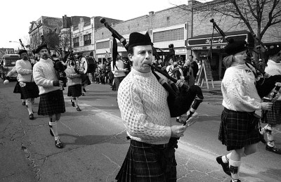 Bagpipers strolling down Madison could be heard for many blocks.