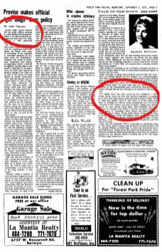 """All on one page....This page of the September 7, 1977 Forest Park Review has a story on the left is written by Judy Topinka. On the right, Jackie Schulz, who wrote the """"Talk of the Town"""" for over 40 years, writes the birth announcement of Dan Novak, current Commissioner of Forest Park."""