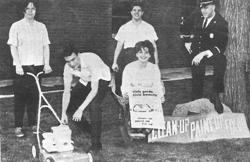 """Civic pride, Civic beauty. Forest Park youth are featured on the cover of the May 14, 1964 Forest Park Review with a header of """"Teens Add Energy"""""""