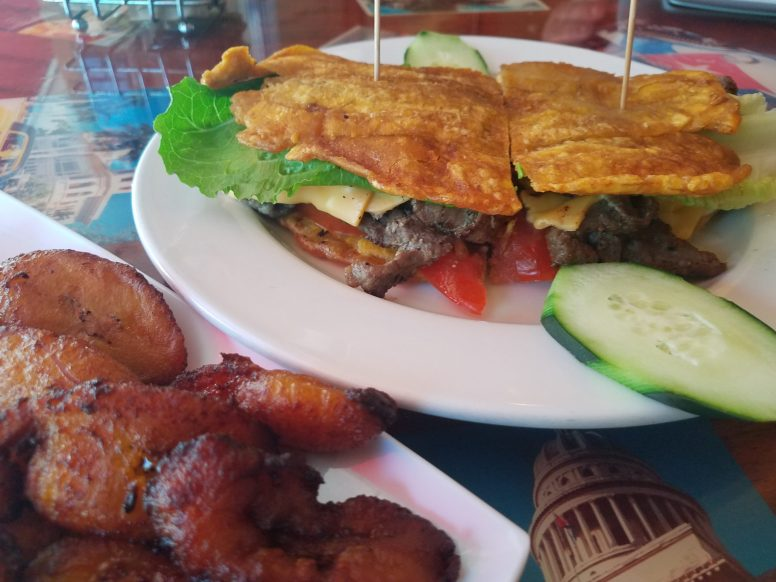 The jibarito sandwich and a side of sweet plantains available at Cafe Cubano in Elmwood Park.