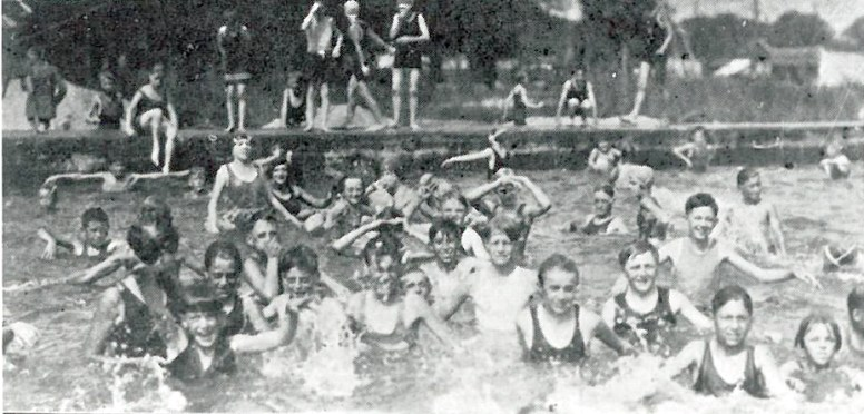 This photo, from circa 1927, was donated to the Historical Society of Forest Park by Dorothy Goetschel, showing the old swimming pool at the Amusement Park.