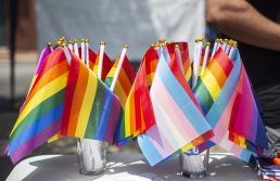 Pride flags were available for attendees. | ALEXA ROGALS/Staff Photographer