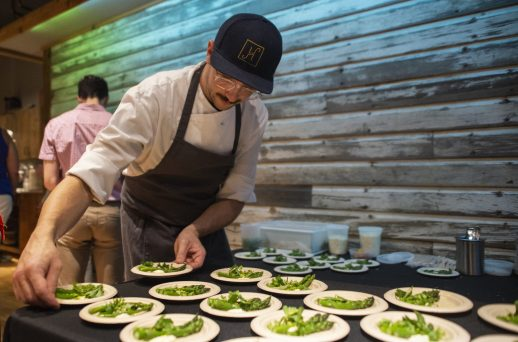 Samplings of asparagus from The Heritage is seen set out for guests to enjoy during the Great Chefs for Success fundraiser for District 209 Together at Urban Pioneer Group on Madison Street in downtown Forest Park. | Alexa Rogals/Staff Photographer